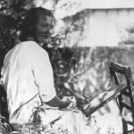 Charlotte peignant dans le jardin, autour de 1939
