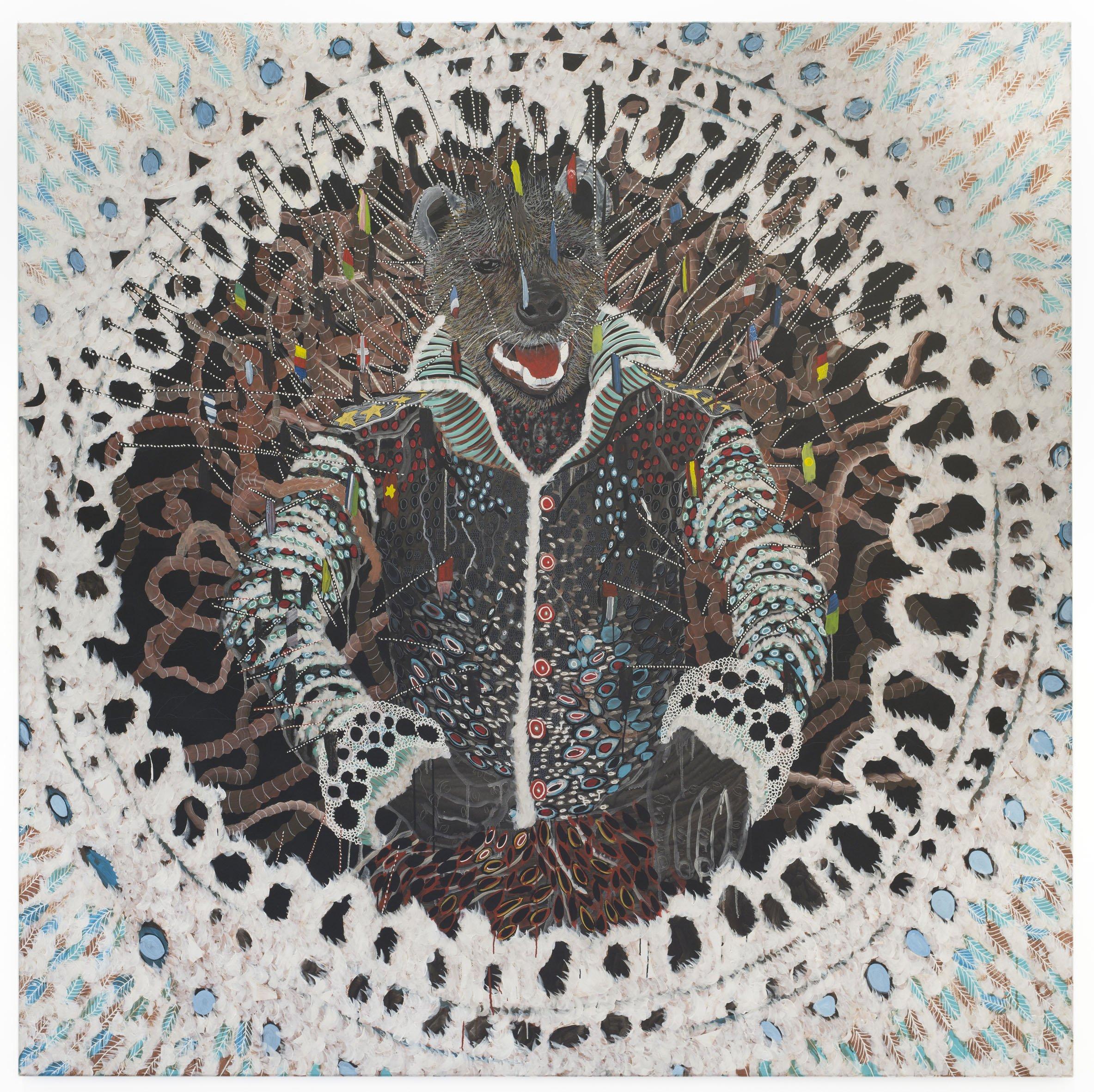 Omar Ba Alép - Ground Zero, 2016 Huile, Crayon, Encre De Chine, Acrylique, Gouache Sur Toile 200 X 200 Cm Courtesy Galerie Daniel Templon, Paris Et Bruxelles Photo : B. Huet-Tutti