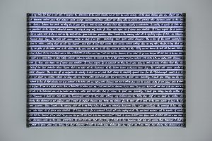 Sight Enables Us to Appreciate Distance, Rosa Barba, 2016 70 mm film, steel, aluminum, LED, motors 185x260x13 cm The artist and Parra & Romero