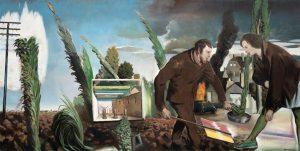 Vaters Acker, Neo Rauch, 2016 Oil on canvas 300 x 150 cm Neo Rauch and VG Bild-Kunst 2016, courtesy Galerie EIGEN + ART Leipzig/Berlin, photo credits: Uwe Walter, Berlin Representé(e) par:Eigen+Art